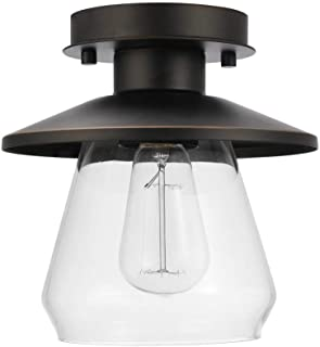 Globe Electric 64846 Nate Light Semi-Flush Mount, Oil Rubbed Bronze with Clear Glass Shade, 1 (Renewed)