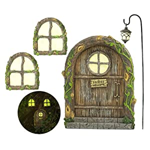 fairy door and windows for trees glow in the dark yard art sculpture decoration for kids room wall and trees outdoor miniature fairy garden outdoor decor accessories with bonus fairy lantern