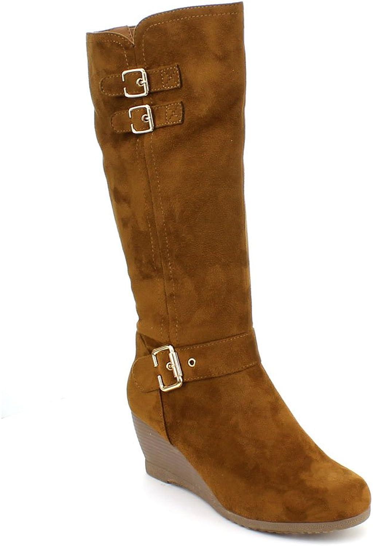 Dbdk Womens Monicca-2 Comfy Suede Buckle Almond Toe Wedges Heel Knee High Boot