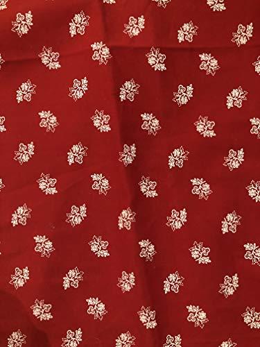 Ramona Lippert Dekostoff Trachtenstoff Bekleidungsstoff Stoff rot mit weißen Blumen Nummer 17 5 Meter