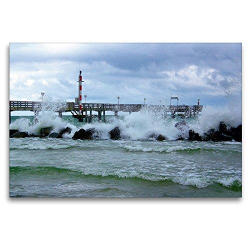 CALVENDO Premium Textil-Leinwand 120 x 80 cm Quer-Format Stürmische Zeiten in Wustrow, Leinwanddruck von Maria Reichenauer Maria