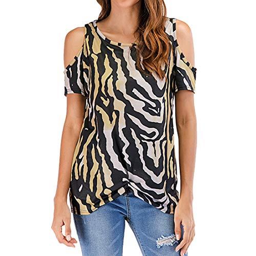 Tops con Estampado de Leopardo para Mujer Camiseta de Manga Corta con Cuello Redondo Camisa Casual básica de Leopardo Sexy con Hombros Descubiertos Blusa con Ropa con Hombros Descubiertos Sexy