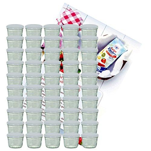 MamboCat Set da 75 vasetti in vetro per marmellate e conserve, da 230 ml, con coperchio bianco, con libro di ricette incluso