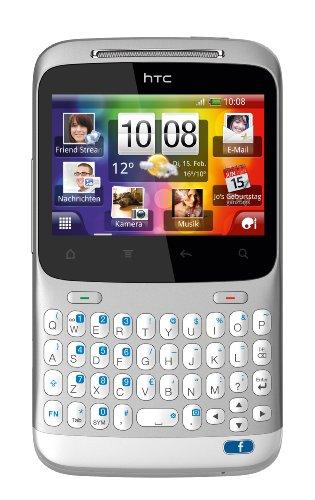 HTC ChaCha Smartphone (6,6 cm (2.6 Zoll) Touchscreen, QWERTZ-Tastatur, 5 MP Kamera, Android OS) silber-weiß