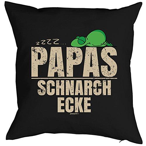trag-das Kissen für Papa Geschenkidee Geburtstag Vatertag Dekokissen - - Papas Schnarchecke (Schwarz)
