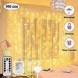 Cortina de Luces - 3M 300 LEDs Cortina de Luces Navidad con Control Remoto USB 8 Modos y Resistencia al Agua, para Decoración Ventana Interiores Navidad Fiestas