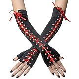 Coucoland Handschuhe Damen Lang mit Senkel Opera Fest Party Halbhandschuhe Damen Fasching Kostüm Accessoires (Rot)