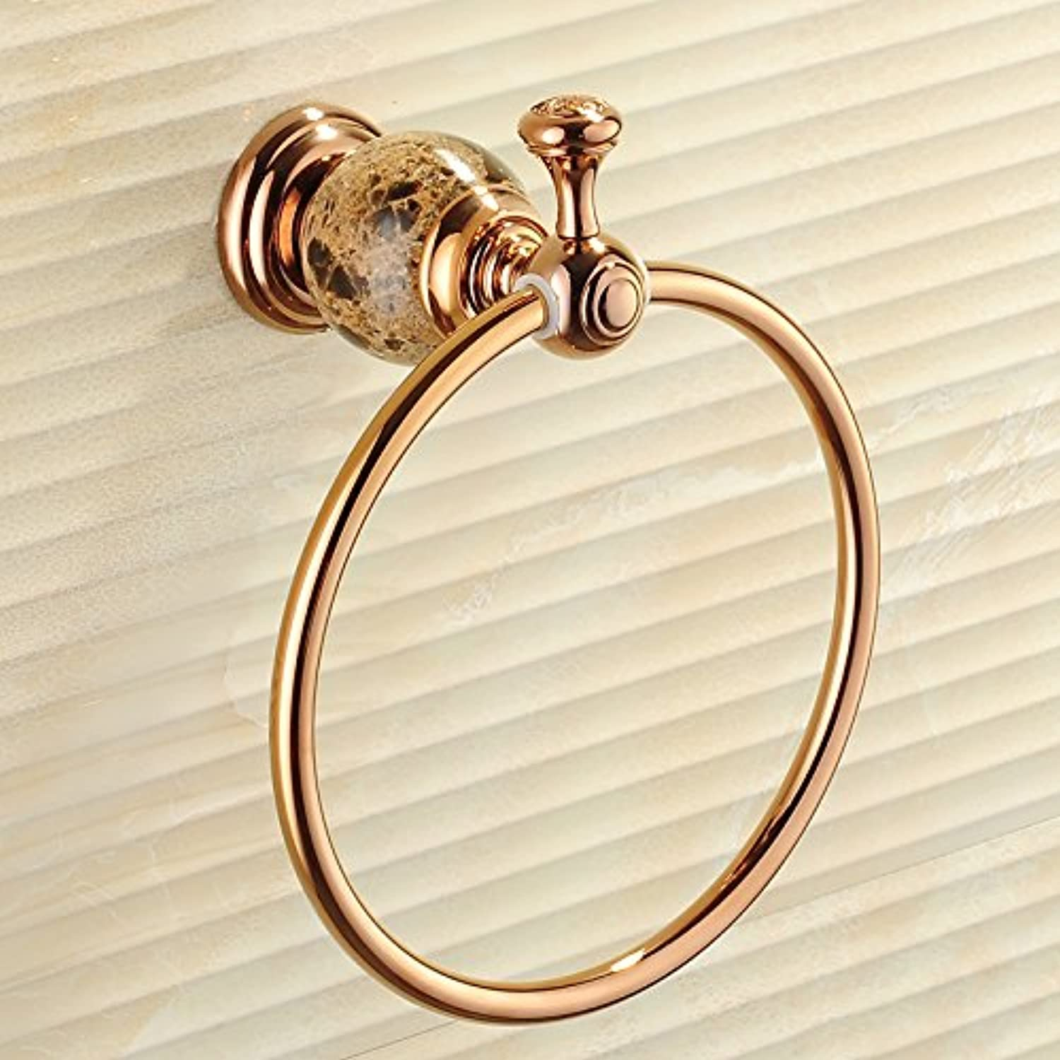 Hardwareh gold Towel Ring Full Copper Bath Towel Ring Jade Towel Bathrooms European Style Antique Round Towel Rack,Coffee Stonemodern Simple and Durable Home Decoration Classic Quality Assurance