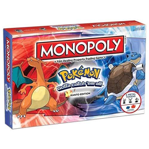 OPW Monopoly Pokemon Board Game Monopoly Pokémon Family Deck Card Games Multiplayer Party Games Jeu De Stratégie avec des Jetons Jouets pour Adultes Et Enfants (Version Anglaise)