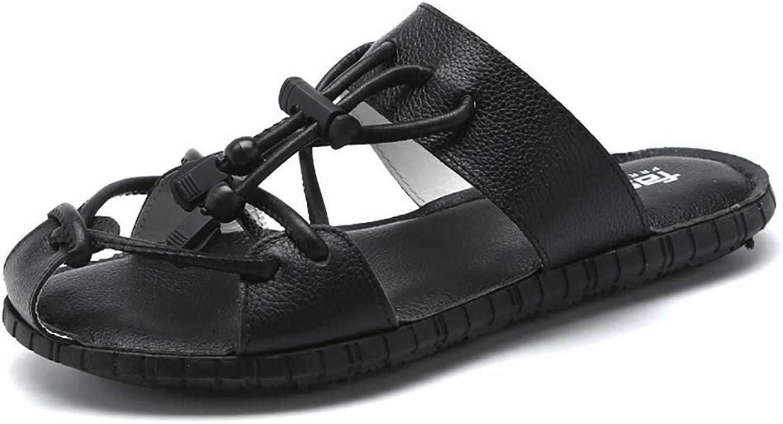 LQ Men's sandals flip flops Men's leather toe cap sport sandals, rubber lace-up sandals, hand-stitched shoes (color   B, Size   10.5 UK)
