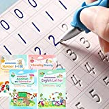 Magic Ink Copybooks for Kids Reusable Handwriting Workbooks for Preschools Grooves Template Design and Handwriting Aid Magic Practice Copybook for Kids The Print Writing (4 Books with Pens)