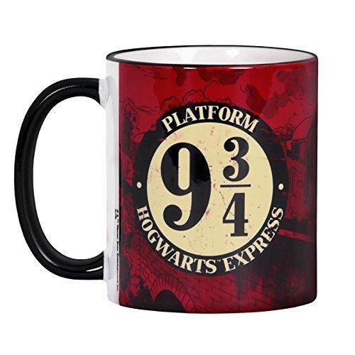 Elbenwald Harry Potter Tasse Gleis 9 3/4 mit Hogwarts Express Rundumdruck Keramik 300 ml rot