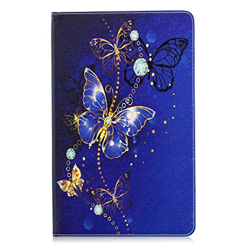 Coopay für Samsung Galaxy Tab A 10.5 T590 T595 Schutzhülle,Ultra Dünn Lederhülle,Bookstyle Ledertasche Brieftasche Wallet Etui Cover Hülle,Ständer Funktion Mädchen Hüllen,Blau Glitzer Schmetterling