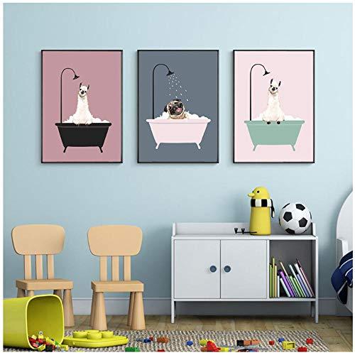 zhaoyangeng kinderkamer muurkunst canvas poster minimalistisch badkamer dier roze cartoon schilderij huis decoratie afbeelding baby meisje room decoratie - 40X50Cmx3 niet ingelijst