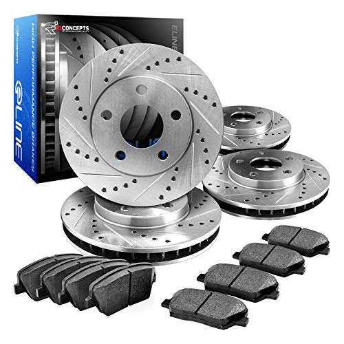 R1 Concepts CEDS10757 Eline Series Cross-Drilled Slotted Rotors And Ceramic Pads Kit - Front and Rear