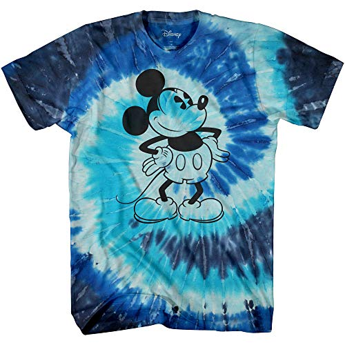 Mickey Mouse Attitude Tie Dye Classic Vintage Disneyland World Adult Tee Graphic T-Shirt for Men Tshirt Clothing Apparel (Blue Spiral Wash, Small)