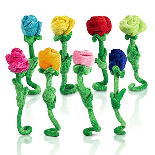 T Play Plush Rose Flower Bendable Stems Colorful Stuffed Rose Flower Toy Durable Roses Plush Bouquet Toy Rose Soft Flower Toys Gift For Kids Baby Girl Toddlers Valentines Day 12'