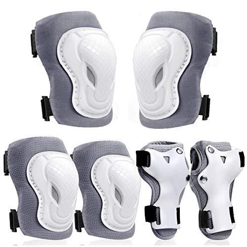 COOLGO Inliner Schoner Set Größe-S für Kinder 15~30 KGS, 6 IN 1 Protektoren Set Schutzausrüstung Verstellbar Knieschoner Ellenbogenschoner Handgelenkschoner für Inliner Skaten Roller Skateboard (GREY)