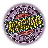 I Love Lanzarote City Canary Islands Emblem - Self-Adhesive Sticker Car Window Bumper Vinyl Decal Pegatina Engomada para del Coche