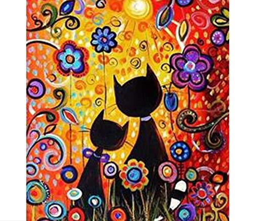 Wazhcy Decorations Coloring Paint By Numbers Kit Cartoon Cat And Abstract Flowers On Canvas Diy For Adult Child Marco 40x50 Cm