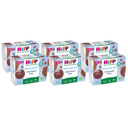 Hipp Biologique Délices de Lait Crème Dessert Cacao - Dès 6 Mois - 24 Coupelles de 100g