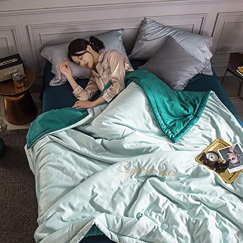 Almondcy Teddy Fleece Luxuriöse Bettdecke,Waschbare einfarbige Sommerdecke aus Eisseide im Sommer, Klimaanlage, kühle Sommerdecke, doppelte Seidendoppeldecke aus Kernseide-200 x 230 cm_Blau