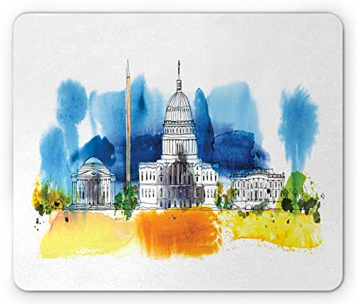 Alfombrilla de ratón Obelisco, Pintura de diseño de Washington DC White House Print