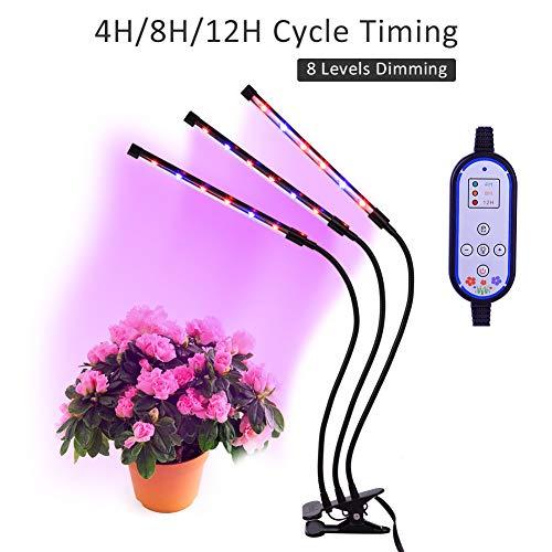 Kweeklamp voor kamerplanten, Haofy 36W drievoudige kopkweeklamp, 18 LED 8 dimbare niveaus kweeklamp met verstelbare 360 graden zwanenhals plantenlamp, automatisch aan / uit met 4/8 / 12H cyclustimer