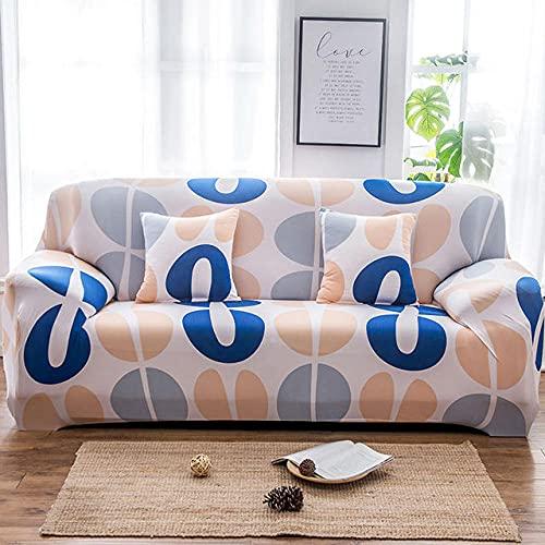Tryckt sofföverdrag Stretch Fit Anti-halkskydd mot soffa Grå gulblå modell på vit bakgrund 1-Seat 90-140cm