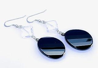 Orecchini in argento 925 con onice nero e cristallo di rocca, pendenti lunghi con pietre naturali, gioielli moderni, bijou...