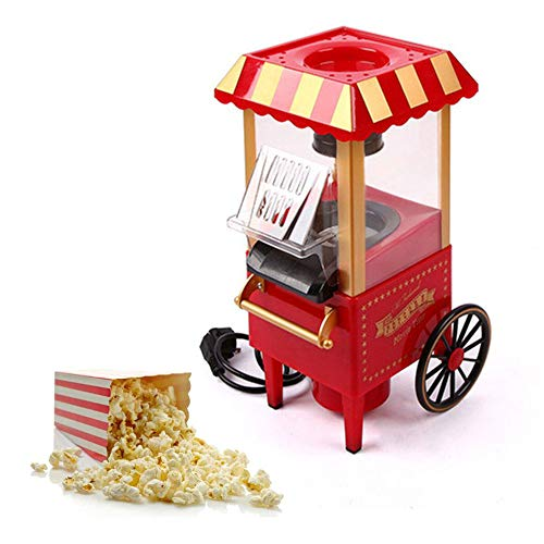 Lowest Price! Popcorn Maker Machine Cart Attractive Retro Edition Design Hot Air Popper Kettle with ...