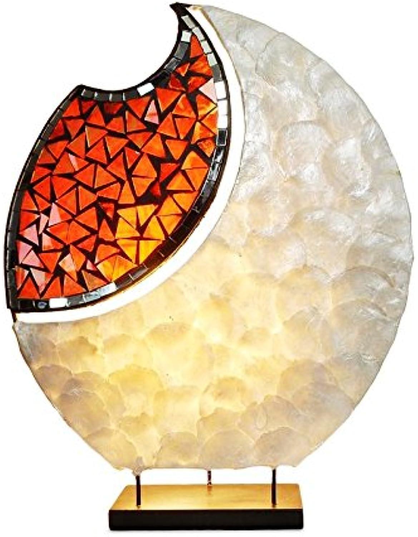 TEMPELWELT Dekoleuchte Design Deko Lampe Yoko 45 cm hoch, Tischleuchte oval aus Naturmaterial Capis wei, Spiegel Glas Mosaik rot, Stimmungslicht Stimmungsleuchte