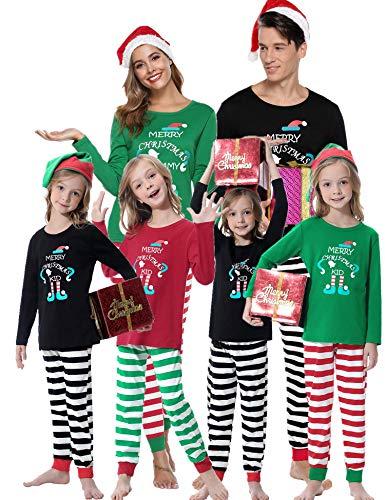 Aibrou Pijamas de Navidad Familia Conjunto Algodón,Ropa de Dormir Casual Otoño Invierno Mujere Hombre Niños