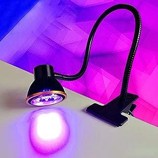LUMINTURS 5W UV LED Table Light Clamp Clip-on Lamp Plug Blacklight Black