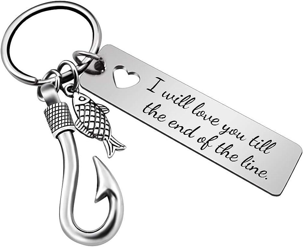 JUPPE Fishing Lure Hook Keychain Personalized Fishhook Keyring Fishman for Couples Boyfriend Girlfriend