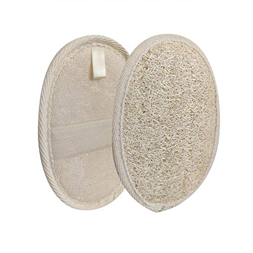 2 Pack Loofah Sponge Pads, 100% Natural Luffa and Terry Cloth Exfoliating Loofah Sponge Scrubber Body Glove for Spa, Bathing and Shower