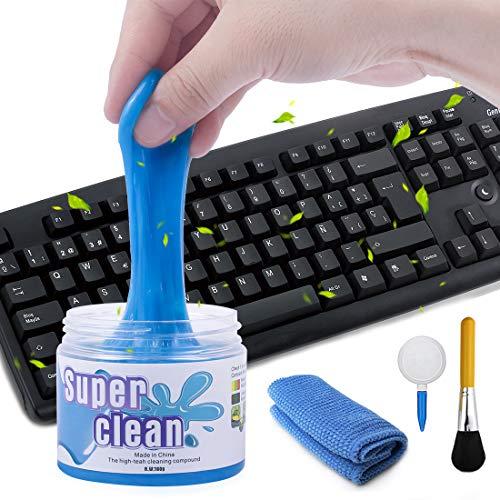 O-Kinee Limpiador Teclado, Gel Limpiador Teclado, Gel Universal Limpiador de Bacterias de Suciedad para Computadoras, Ventilaciones de Automóviles, Impresoras, Calculadoras (Azul)