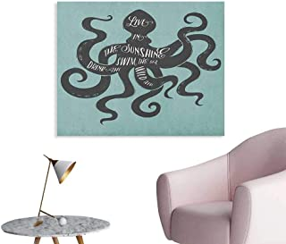 Anzhutwelve Octopus Wall Paper Live in The Sunshine Swim The Sea Drink The Wild Air Message Graphic Space Poster Charcoal Grey Turquoise W36 xL24