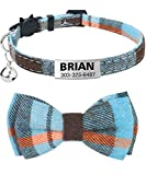 TagME Personalized Breakaway Cat Collar with Cute Bow Tie & Bell, Stainless Steel Slide-on Pet ID Tag Engraved with Name & Phone Numbers,1 Pack Haze Blue