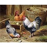 ZXDA Frameless DIY Kit de Pintura al óleo por números para Adultos gallos Pintura de Animales por número Pintado a Mano Decoración de Pared Artcraft Único A6 50x65cm