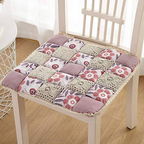 ILMF Non Skid Cushion, Breathable Comfort Polyester Seat Cushion Soft Portable Chair Pad Great for Dining Room Kitchen Garden-40x40cm(16x16inch) 1 Pack-A
