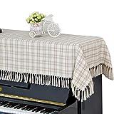 ピアノカバー アップライト トップカバー デジタル 電子ピアノカバー 北欧 チェック柄 タッセル 標準直立型ピアノ用 間口130-160cm通用 ほとんどのサイズのピアノに適合 ピアノ掛け 田園風 厚い 防塵カバー シート 爽やか ベージュ カフェ色 Unusual (ピアノカバーのみ)