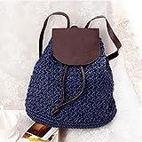 Dwqlx Mochila De Moda Bolsa De Playa Tejida De Paja Bolsa De Viaje De Vacaciones Moda Vintage Crochet Natural Moda Mujer Bag-3
