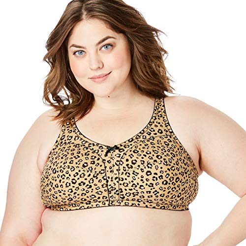 Comfort Choice Women's Plus Size 3-Pack Cotton Wireless Bra - 52 G, Polka Dot Assorted