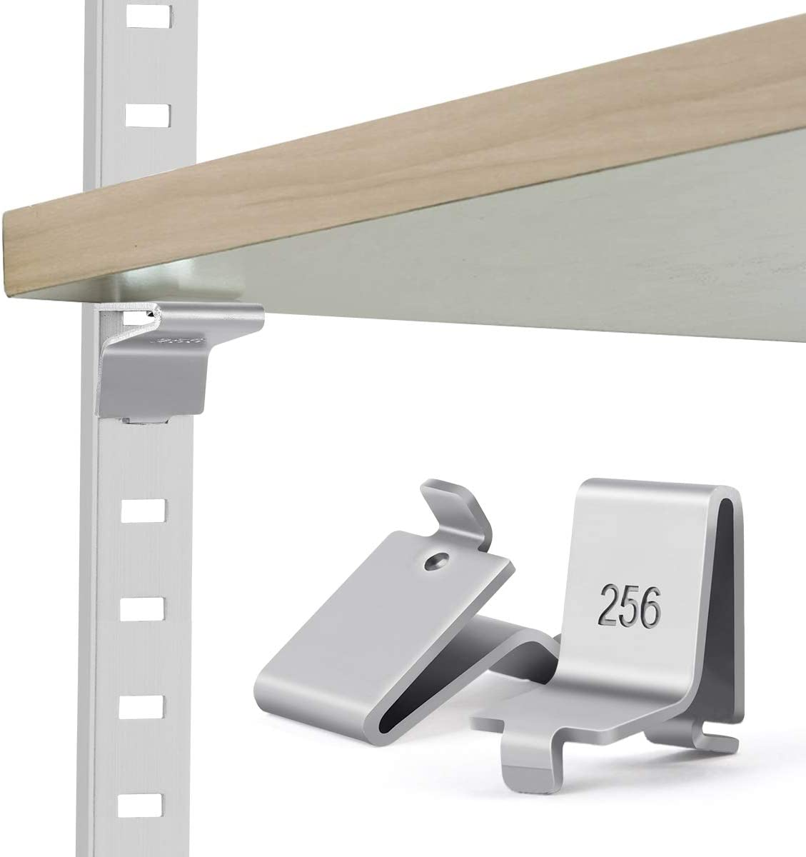 Lenink 28 Piece 256P-ZC Adjustable Pilaster Shelf Support Clip Shelving Brackets Clips: Home Improvement