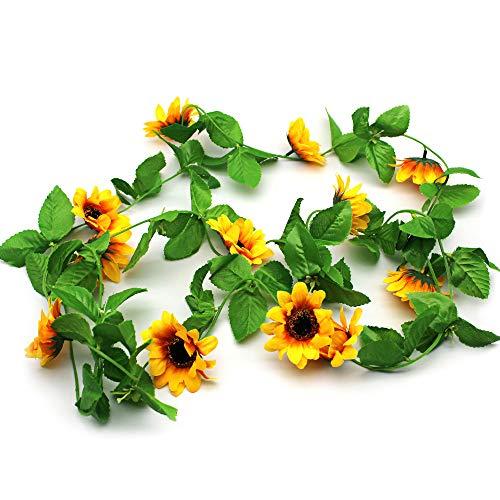 Mila-Amaz 3 Pcs Artificial Sunflower Garland Vines Fake Silk Flower Vine Hanging Plants for Home Office Wedding Décorf, Yellow