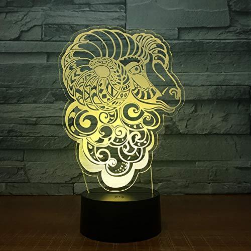 Luz de noche 3d Deer 3D Lámpara LED Lámpara táctil de mesa 7 colores que cambian 3D Luz de escritorio Luminaria Lámpara USB LED Luz de noche 2017 Nuevo regalo gratis para niños
