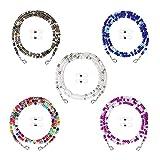 Rpanle Cadena de Gafas, 5 Piezas Cordones para Gafas con Cuentas, Sujeta Gafas, Adecuado para Hombres, Mujeres, Niñas, Niños y Ancianos