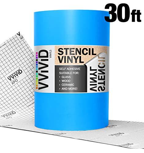VViViD Blue Low-Tack Adhesive Vinyl Stencil Masking Film Roll (12in x 30ft)