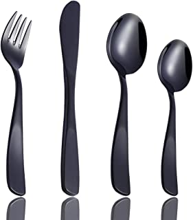 Toddler Utensils Set 12 Piece, Children's Silverware 18/10 Stainless Steel Black Kids Flatware for Self Feeding with 3 Knives, 3 Forks, 6 Spoons, Small Child Training Eating Cutlery Dishwasher Safe